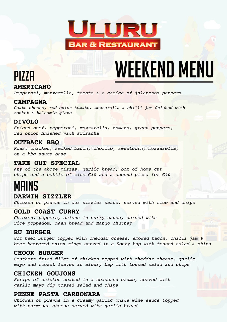 Weekend Menu Thursday - Sunday 1:00pm - 8:00pm